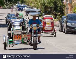 pedicab philippines common transportation method in the urban places in manila stock