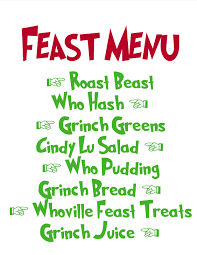 dr seuss how the grinch stole christmas lunch dinner menu for
