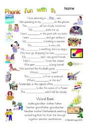 3 pages of phonic fun with th worksheet story and key 3