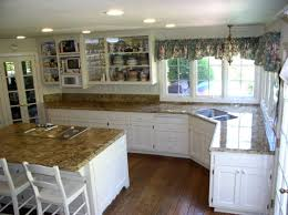 wooden country kitchen cabinets in corner space beside amusing
