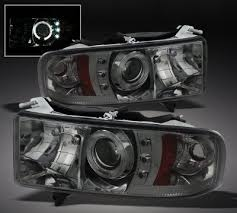 99 dodge ram led lights dodge ram sport 1999 2001 smoked halo projector headlights with