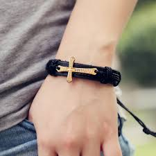 woven bracelet with cross images Buy retro rope adjustable leather men cross jpg