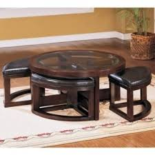 round table with chairs that fit underneath the best round coffee table with ottomans underneath