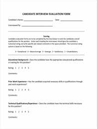 candidate evaluation form candidate evaluation form for hr
