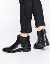 flat biker boots faith subaru black leather flat chelsea boots in black lyst