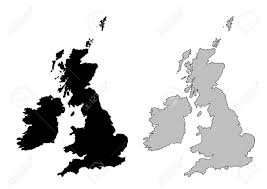 Britain Blank Map by United Kingdom Map Black And White Mercator Projection Royalty