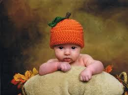 halloween pumpkin baby hat girls boys crochet fall autumn orange