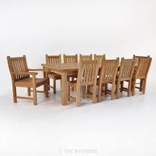 hampton teak outdoor table set with 10 chairs teak warehouse