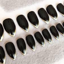 black stiletto faux nails gold tips stiletto nails fake