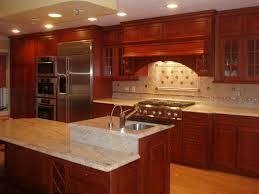 kitchen backsplash with cabinets ivory backsplash with cherry cabinets coffee machine
