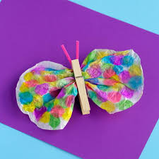 clothespin and coffee filter butterfly craft allfreekidscrafts com