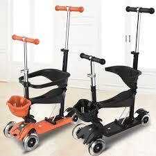 siege bebe scooter 3 modes led lumières 4 roues planche à roulettes scooter avec