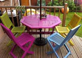 Ideas For Garden Furniture by Bright Painted Garden Furniture Adds A Bit Of Colour To The