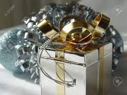 christmas ornaments with silver and gold gift box stock photo
