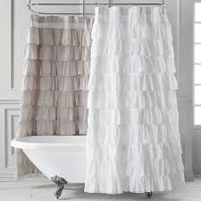 White Ruffle Curtains Wonderful Grey Ruffle Curtains And Waterfall Shower Curtain