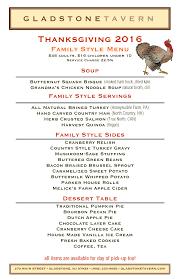 thanksgiving lunch menu gladstone tavern u2014events