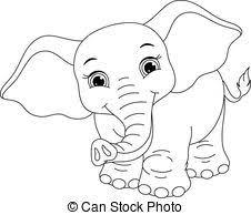eps vector baby elephant coloring cute elephant