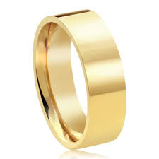 wedding band for accent 14k yellow gold 6mm plain comfort fit flat style