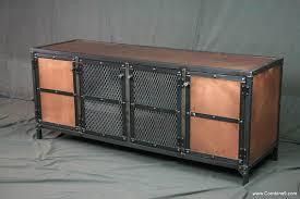 Entertainment Center Credenza Copper Media Console Credenza Vintage Industrial