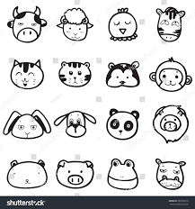 set doodle drawing outline animal face stock vector 589759316