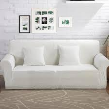 housse canapé blanc 100 polyester tricoté tissu stretch blanc housse de canapé pour le