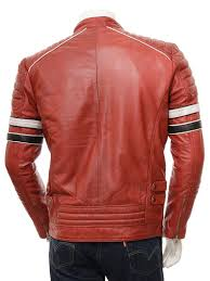 mens leather biker jacket men u0027s red leather biker jacket croyde men caine