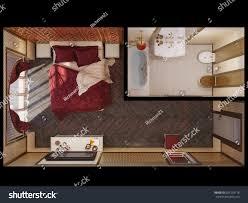 3d illustration interior design master bedroom stock illustration