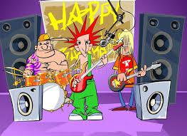 imagenes feliz cumpleaños rockero la banda de rock dice feliz cumpleaños stock de ilustración