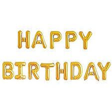 happy birthday balloons banner gold mylar foil