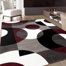 living room 02 black contemporary wool area rug black and white