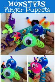 kids craft easy monsters finger puppets