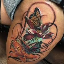 butterflies u0026 flowers thigh piece best tattoo design ideas