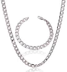 white gold men necklace images Buy men fashion real white gold plated chunky classic necklace jpg