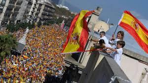 huge demonstration against catalan independence in barcelona