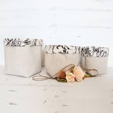 linen storage baskets with flower lining set of 3 emodi