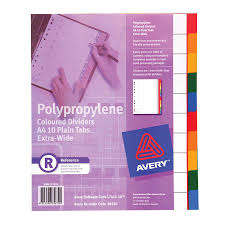 avery pp dividers a4 10 tab extra wide indx3185 cos complete