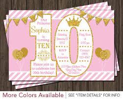 Princess Birthday Invitation Card Princess Birthday Invitation 10th Birthday Invitations Age