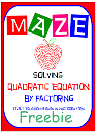 maze freebie solve quadratic equation by factoring level 1