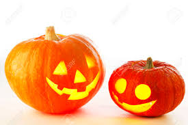 cute halloween background two cute halloween pumpkins isolated on white background stock
