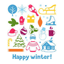 new year items set of winter objects merry christmas happy new year