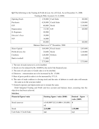 Sle Profit And Loss Sheet by Fma Financial Accounting Assignments With Solutions