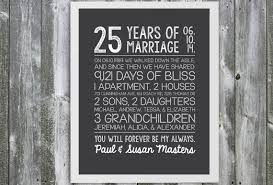 25 year anniversary gift ideas customizable anniversary gift marriage stats 25 year