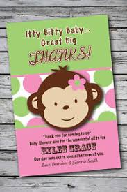 mod baby shower mod monkey girl thank you cards baby shower printable 1st birthday