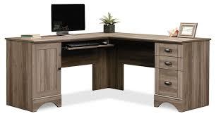 Sauder Harbor View Computer Desk With Hutch Antiqued Paint by Harbor View Corner Desk U2013 Salt Oak The Brick