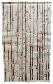 Asian Curtains Vertical Cherry Blossom Linen Noren Curtain Asian Curtains