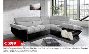 toff canapé meubles toff promotion salon d angle en tissu et pu avec fonction
