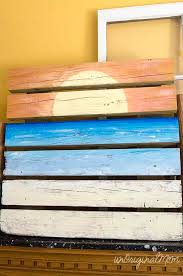 painted wood artwork sunset painted pallet and summer mantle unoriginal