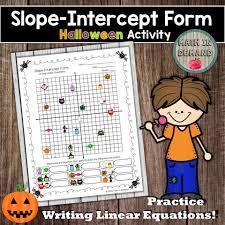 slope intercept form halloween activity writing linear equations