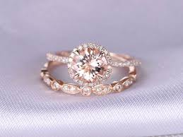 engagement rings 2017 2pcs wedding ring set morganite engagement