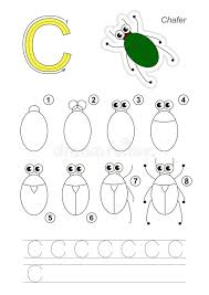 Tutorial Vector C | drawing tutorial game for letter c the bronze bug stock vector